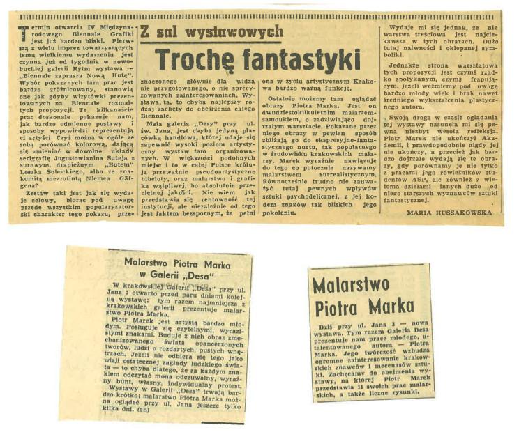 Pierwsza wystawa Piotra Marka, artykuły w prasie