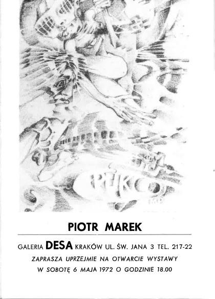 Katalog pierwszej wystawy Piotra Marka w galerii DESA w Krakowie, 6 maja 1972